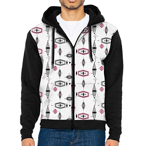 Joapron Atomic Pink & Grey Pattern Men's Zipper Splicing Overcoat Belt Hat and Pocket L