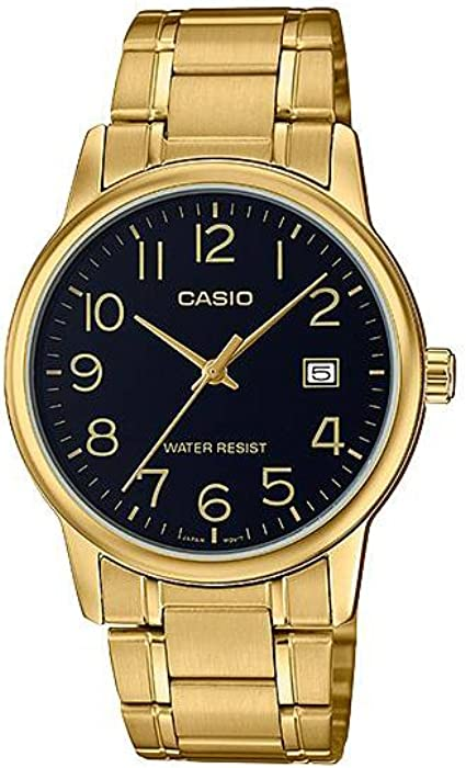 eae0a1b74 Casio #MTP-V002G-1B Men's Standard Analog Gold Tone Stainless Steel Date  Watch ...