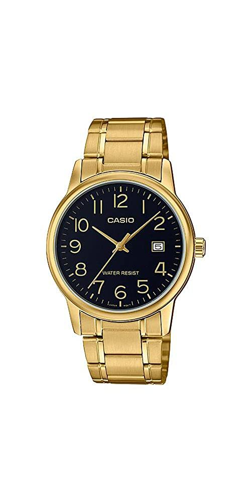 0ae437cd1 Amazon.com: Casio #MTP-V002G-1B Men's Standard Analog Gold Tone Stainless  Steel Date Watch: Watches