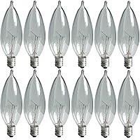 GE Lighting Crystal Clear 24782 Bombilla de 40 vatios, 370/280 lúmenes con punta curvada y base de candelabro, paquete de 12