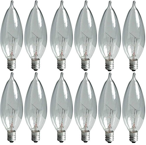 (GE Lighting Crystal Clear 24782 40-Watt, 370/280-Lumen Bent Tip Light Bulb with Candelabra Base, 12-Pack)
