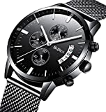 Watch Mens Watches Business Stainless Steel Waterproof Multifunction Calendar Mesh Band Watch