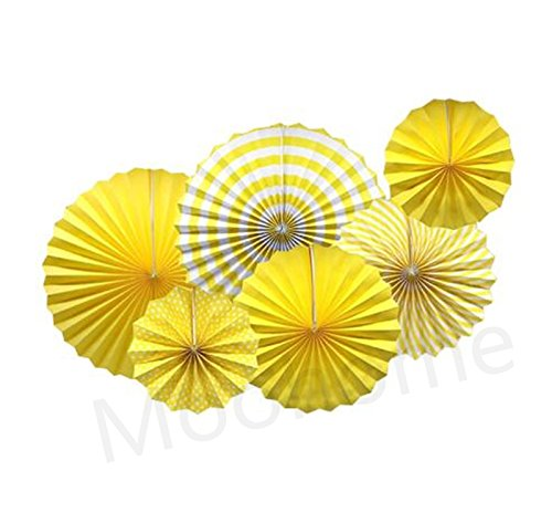 Moohome Yellow Hanging Paper Fans Set,Colorful Round Pattern/Paper