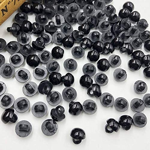 by CLAIRE Buttons 100Pcs 8Mm Acrylic Mushroom Black Shank Buttons Plastic Decorative Button Negro DIY Sewing Eye for Dolls Toy Eyes Ph254