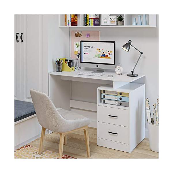 Homfa Bureau Table d'Ordinateur Table d'Étude Table de Travail PC pour Salon avec 2 Tiroirs 108x48x76.5cm (Blanc)