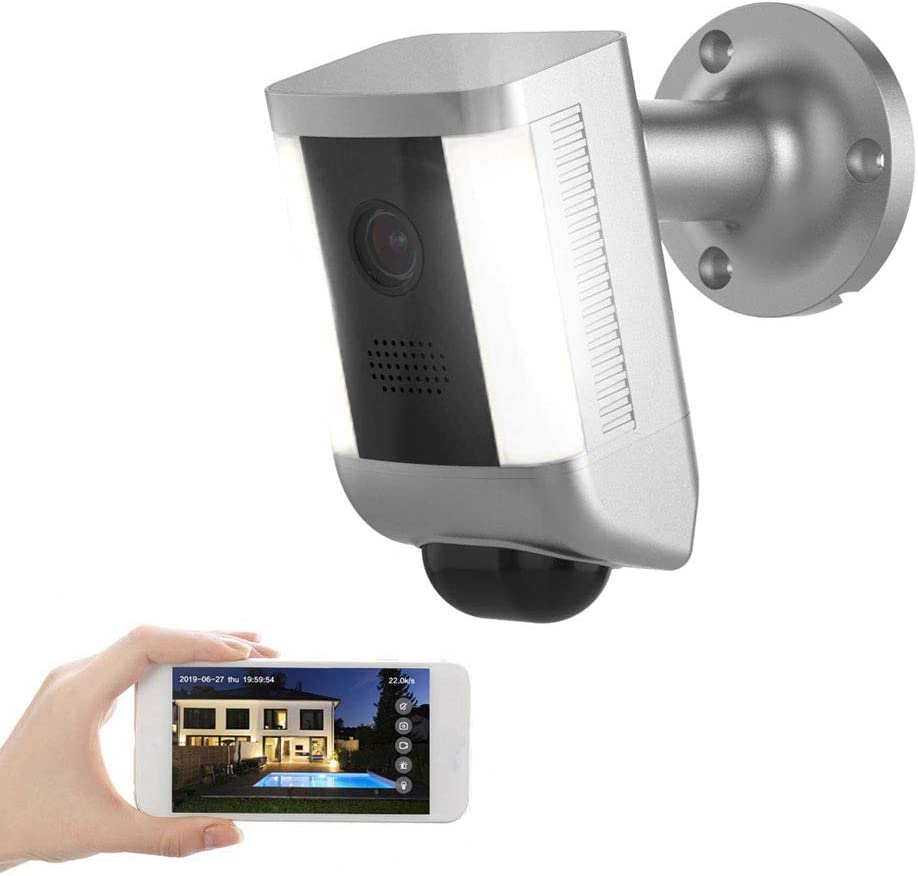FREECAM Outdoor Security Camera with LED Light, 1080p HD Spotlight WiFi Camera ,Motion-Activated, Night Vision, Two-Way Audio and Siren Alarm for Outdoor UseL860(Silver)