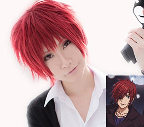 D Gray Man Cosplay Lavi Bookman Jr. Red Short Wig Hair Costume Accessories (Halloween Costume 1012)