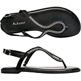 Women's Wide Summer Flat Sandals - Open Toe One Band Ankle Strap Flexible Shoes(180414 Black,7.5WW)