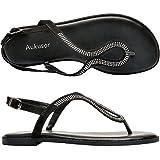 Women's Wide Summer Flat Sandals - Open Toe One Band Ankle Strap Flexible Shoes(180414 Black,9.5WW)