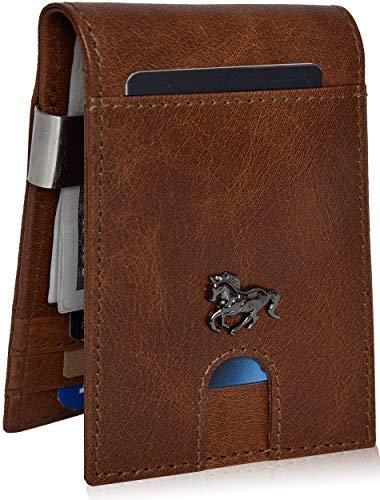 Slim Wallets for Men with Money Clip - RFID Genuine Leather Front Pocket Minimalist Modern Card Holder Bifold Mens Wallet (Tan Vintage) ()