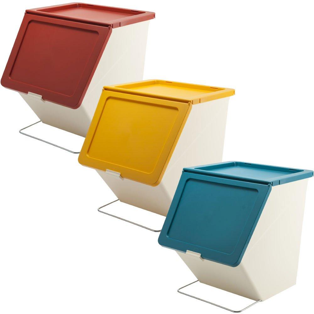 スタックストー ペリカン ガービー 38L 全6色の中から選べる3個セット ゴミ箱 ごみ箱 ダストボックス おしゃれ ふた付き stacksto pelican (レッド×イエロー×ブルー) B07592GF1S レッド×イエロー×ブルー レッド×イエロー×ブルー
