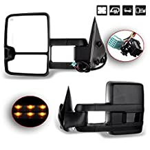 SCITOO Left+Right Power Heated LED Signal Lamp Clearance Light Side View Mirrors For 2003-2007 Silverado Sierra Truck Towing