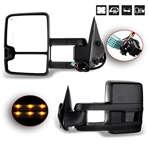 - SCITOO Towing Mirrors fit 2003-2006 Chevy Silverado Tahoe Suburban Avalanche GMC Sierra Yukon Cadillac Escalade Power Heated LED Signal Lamp Light Pair Mirrors