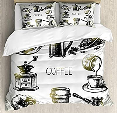 Decor Duvet Cover Set King SizeBrewing Equipment Doodle Duvet Cover SetCustom 3 Piece Bedding Set with 2 Pillow Shams, King Size