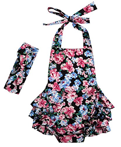 Messy Code Baby Girls Clothes Onesies Boutique Toddlers Ruffle Rompers Jumpsuit, Small / 6-12Months, Black Floral 1604# ()