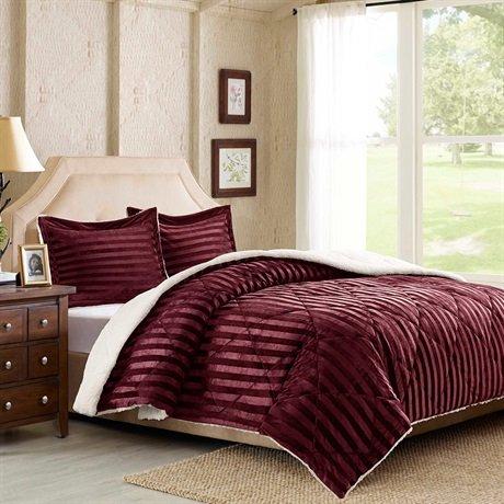 Premier Comfort Lamont Dobby Stripe Mink Reverse to Berber Comforter Mini Set, Full/Queen, Burgundy