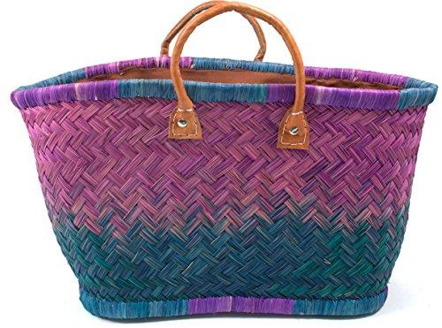 Madagaskar Korbtasche Strandtasche Large Ibiza Handtasche Damen Lederhenkel