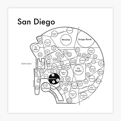 San Diego Map Letterpress Print