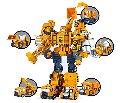 - 5 Pack TransTruck Transform Tractor Robot Action Figures Combine into 1 Giant Robot - Holiday, Birthday Gift Tractors Robots Toys for Kids