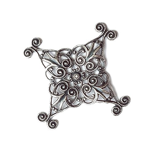 Floral Wrapped Gemstone - Lil Lovely Filigree. Tarnish Free Fine Silver Plated. 35mm. Lead and Nickel Free, Jewelry Making
