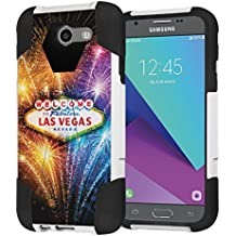 Galaxy J3 Prime/J3 Emerge/Express Prime 2/Amp Prime 2 Case, Capsule-Case Hybrid Dual Layer Shockproof Combat Kickstand Case (White & Black) for Samsung SM-J327 - (Las Vegas Fireworks)