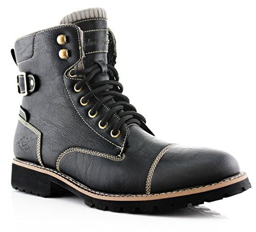 Polar Fox Brady MPX508571 Mens Casual Classic Combat Fur Lined High-Top Motorcycle Boots – Black, Size (Mens Casual Motorcycle)