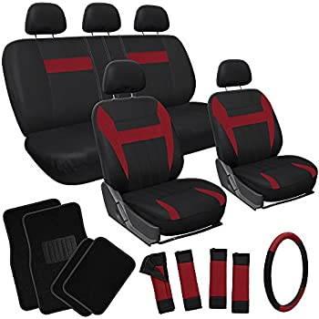 Amazon Com Oxgord 17pc Flat Cloth Seat Covers With Black