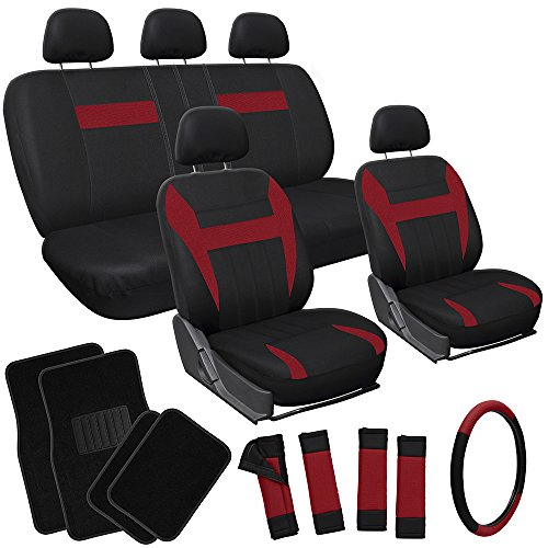 OxGord 17pc Flat Cloth Seat Covers with Black Carpet Floor Mats for Car, Truck, Van, SUV- Burgundy (Van Black Carpet)