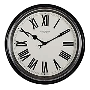 "Studio Designs Home 73004 19"" Traditional Metal Roman Wall Clock,Black"