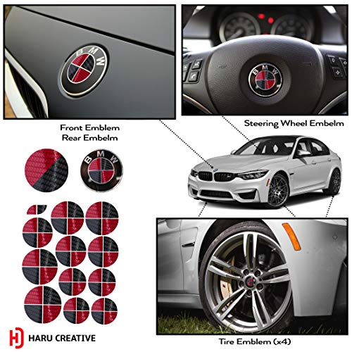 Haru Creative - Vinyl Overlay Aftermarket Decal Sticker Compatible with and Fits All BMW Emblem Caps for Hood Trunk Wheel Fender (Emblem Not Included) - 5D Gloss Carbon Fiber Black and Red ()