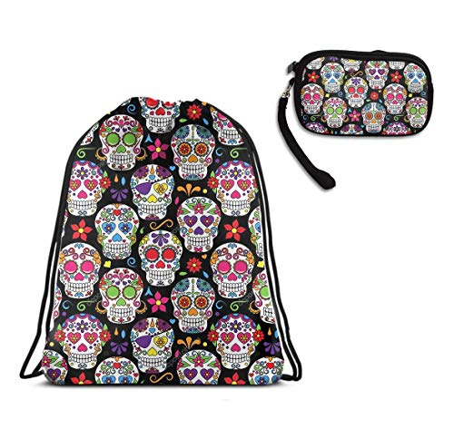 - Sport Gym Drawstring Backpack Tote Cinch Sack - Day Of The Dead Sugar Skull Drawstring Rucksack, Large Size Lightweight Waterproof Tote Cinch Sack + Cash Case Handbag