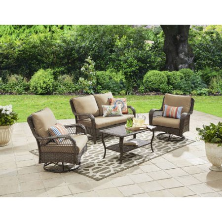 Cheap Colebrook 4-Piece Outdoor Conversation Set, Seats 5-tan