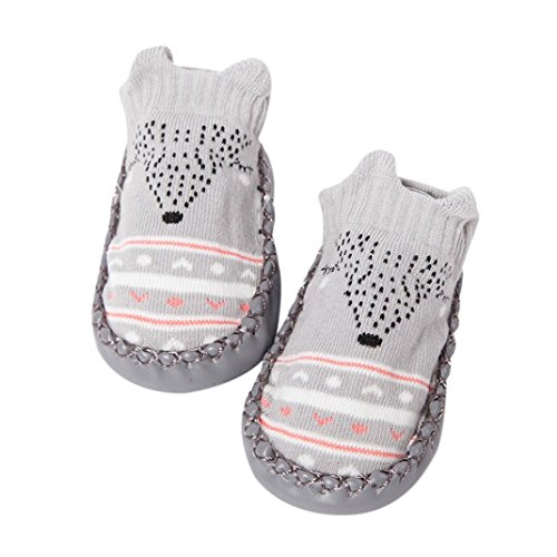 Sinfu Baby Shoes Newborn Infant Girl Child Toddler Cartoon Crib Shoes Soft Sole Anti-slip Socks Sneakers Bell Shoes Boots (Gray, 12-18Month)