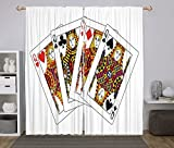 iPrint 2 Panel Set Window Drapes Kitchen Curtains,Queen Queens Poker Set Faces Hearts and Spades Gambling Theme Symbols Playing Cards Black Red Yellow,for Bedroom Living Room Dorm Kitchen Cafe