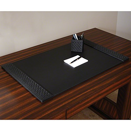 Classic Woven Black Leather Desk Blotter Pad | Office Desktop Traditional by Global Views