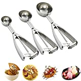 Cookie Scoop Set, 3 PCS Ice Cream Scoop with Trigger, 18/8 Stainless Steel, Perfect for Cookie, Ice Cream, Cupcake, Muffin, Meatball