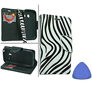 Samsung Galaxy Ace Style S765C Black/ White Zebra Credit Card With Strap Pouch Protector Cover Case + Tool