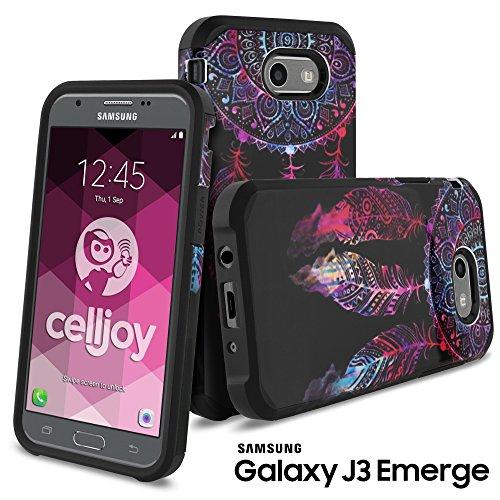 Galaxy J3 Emerge Case, Galaxy J3 2017 Case, Celljoy [Liquid Armor] Samsung J327P Slim Fit [Dual Layer Series] TPU Protective Hybrid [[Shockproof]] - Thin Hard Cover (Dream Catcher Design) - Metallic Dreamcatcher
