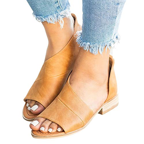 SNIDEL Womens Faux Leather Sandal Open Toe Flats Sip on Summer Casual Low Heels Shoes Brown 7.5 B (M) US