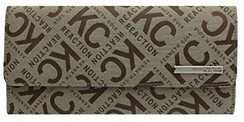 Kenneth Cole Reaction Womens Saffiano Clutch Wallet Trifold W Coin Purse (KC BOX JACQUARD TAN)