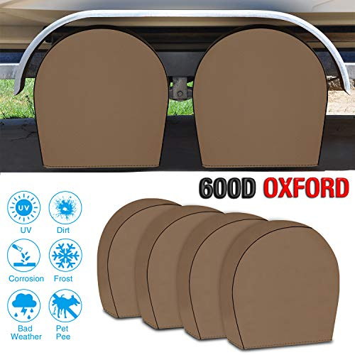 (RVMasking Tire Covers for RV Wheel Set of 4 Heavy Duty 600D Oxford Motorhome Wheel Covers, Waterproof PVC Coating Tire Protectors for Trailer Truck Camper Auto, Fits 26.75