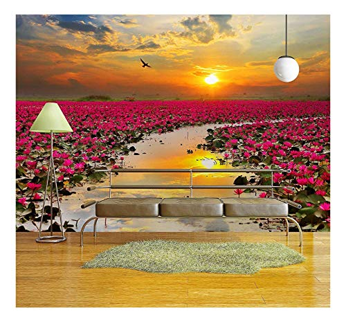 wall26 - Sunshine Rising Lotus Flower in Thailand - Removable Wall Mural | Self-Adhesive Large Wallpaper - 100x144 inches