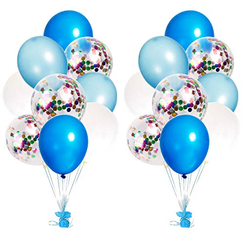 Blue & Multicolor Confetti Balloons 12 inch Party Balloons with 50M Ribbon for Baby Shower, Party Decorations, Wedding, Proposal ()