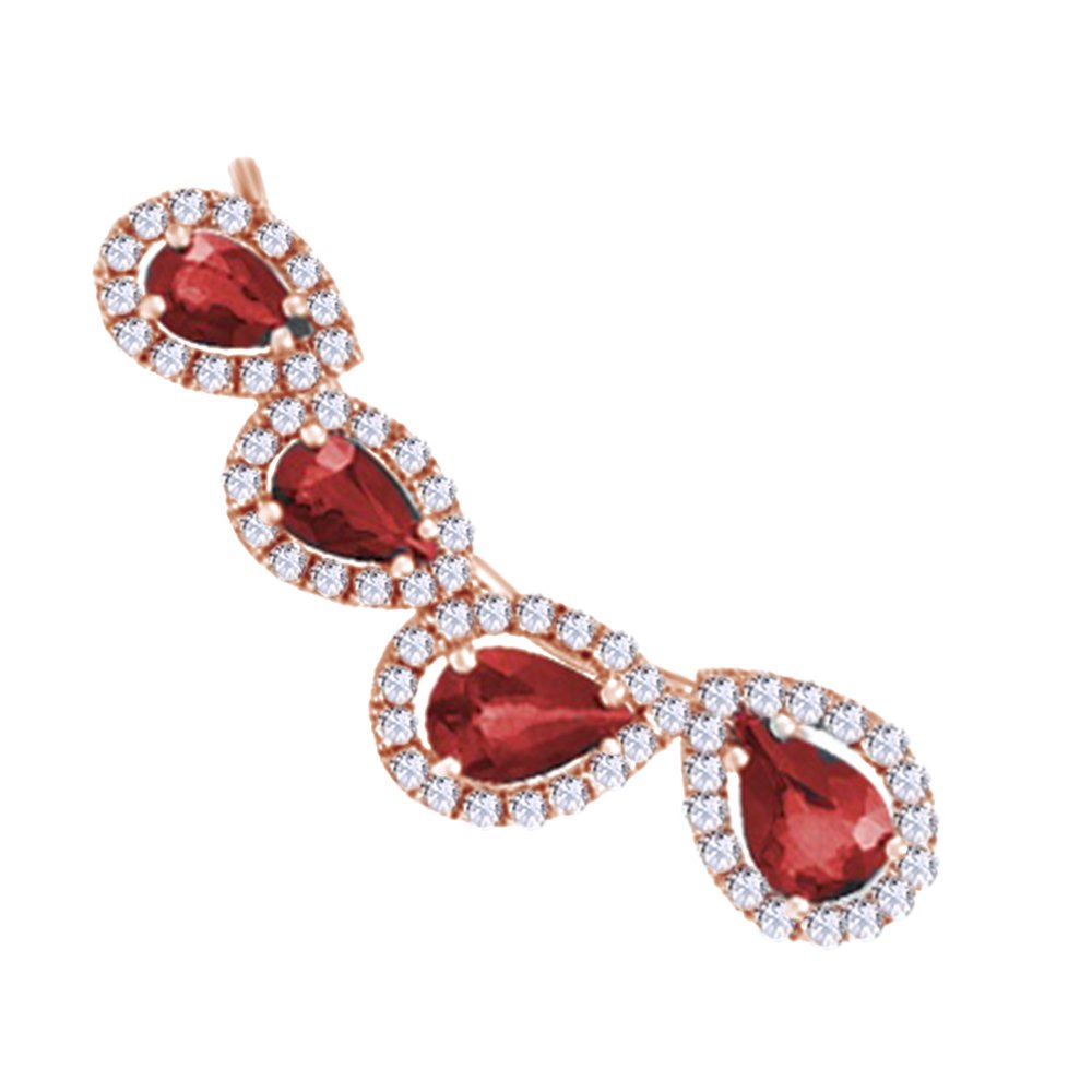 Simulated Garnet with Diamond Accent Single Earring in 14K Solid Rose Gold