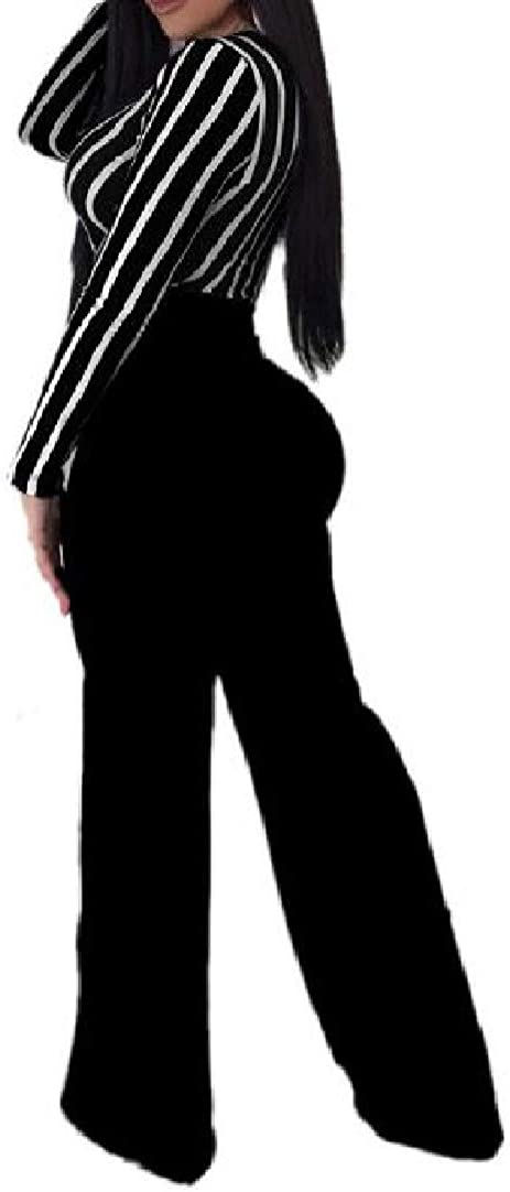 VITryst-Women Long Sleeve Lace-up Wide Legs OL Deep V-Neck Jumpsuit Romper