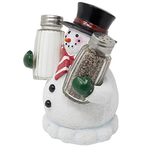 (Decorative Snowman Salt and Pepper Shaker Set Figurine Display Stand Holder for Kitchen Table Christmas Decorations and Tabletop Xmas Holiday Decor Or Christmas Gifts for Mom)