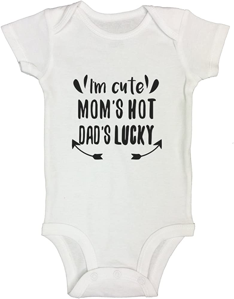Funny Threadz Kids Funny Onesie T-Shirt Im Cute Moms Hot Dads Lucky