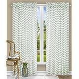 Ellis Curtain Reston Chevron Stripe Tailored Panel Curtain, 50-Inchx63-Inch, Spa