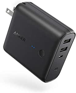 Anker PowerCore Fusion 5000, Portable Charger 5000mAh 2-in-1 with Dual USB Wall Charger, Foldable AC Plug and PowerIQ, Battery Pack for iPhone, iPad, Android, Samsung Galaxy, and More, Black