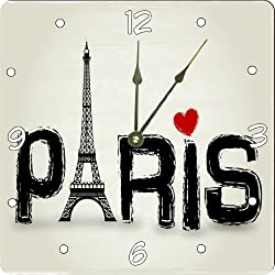 Rikki Knight Paris Words with Eiffel Tower and Red Heart Design 6 Art Desk Clock